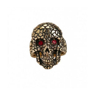 Nugget Skull Ring Gold/red Eyes / 7 Ss Rings