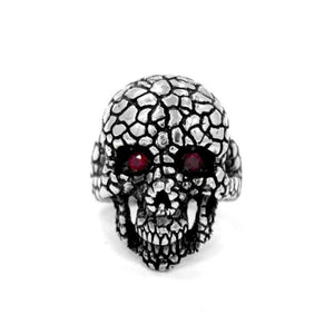 front of the Nugget Skull Ring in silver from the han cholo skulls collection
