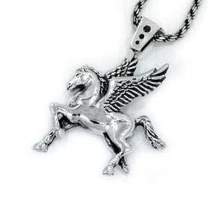 angle of the Pegasus Pendant in silver from the han cholo fantasy collection