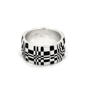 right side of the Pixel Ring in silver from the han cholo precious metal collection