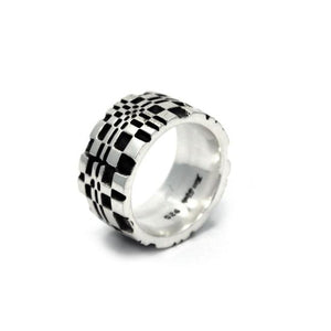 angle of the Pixel Ring in silver from the han cholo precious metal collection