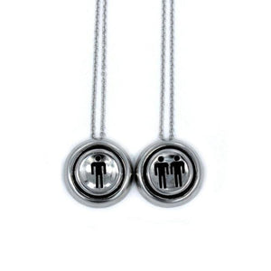 front view of the Player 1 player 2 necklaces on a white background