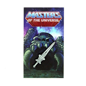 front of the power sword pin on a masters of the universe pin card