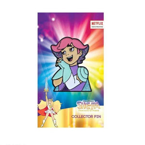 product shot of the princess glimmer enamel pin on she-ra enamel pin card