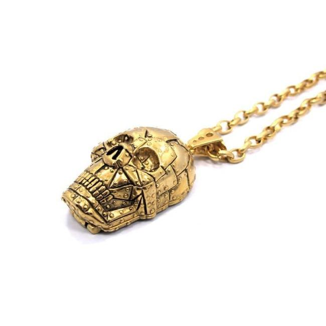 Rivet Skull Pendant Ss Necklaces