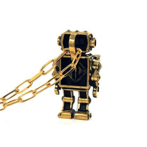 back view of the Robot Pendant in gold on a white background