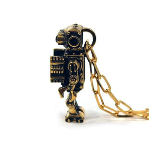 right side profile view of the Robot Pendant in gold on a white background