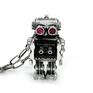front view of the Robot Pendant in silver on a white background