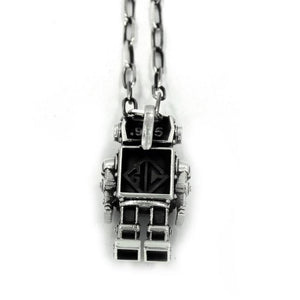 back view of the Robot Pendant in silver on a white background