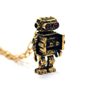 left angle view of the Robot Pendant in gold on a white background