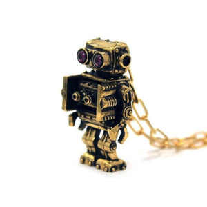 right angle view of the Robot Pendant in gold on a white background