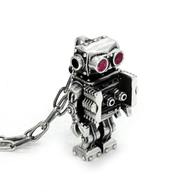 Robot Necklace, Sci Fi Jewelry, Fantasy Jewlery, Robot Jewelry, Classic Robots, Wind Up Robots