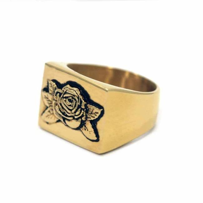 Rose Signet Ring Gold / 9 Ss Rings