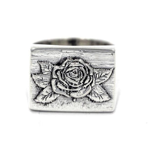 Rose Signet Ring Sterling Silver .925 / 9 Pm Rings