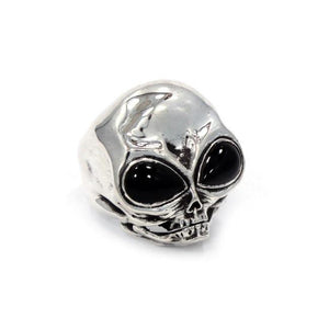 left angle of the Roswell Ring in silver from the han cholo alien collection