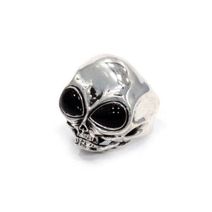 right angle of the Roswell Ring in silver from the han cholo alien collection