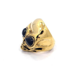 side of the Roswell Ring in gold from the han cholo alien collection
