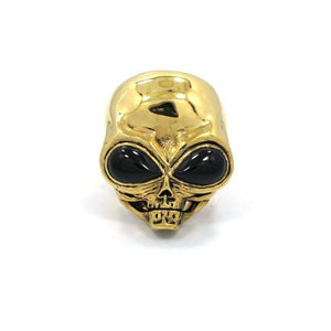 front of the Roswell Ring in gold from the han cholo alien collection