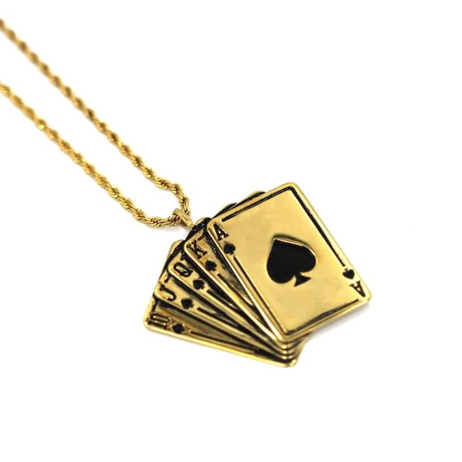 Royal Flush Pendant Gold / 24 Ss Necklaces