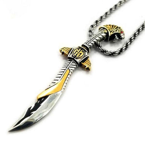 close left view of the mighty morphin power rangers Legacy Saba Sword Pendant on a silver rope chain
