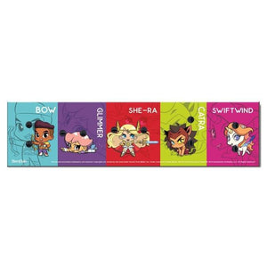 back view of the she-ra chibi pin card showing the characters on colored squares