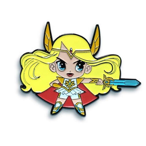 front view of the she-ra chibi enamel pin showing detail up front