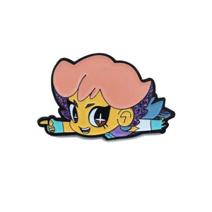 front view of the glimmer chibi enamel pin showing detail up front