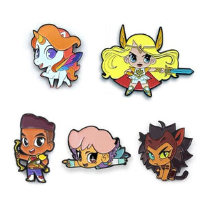 shot of all 5 she-ra chibi enamel pins casting a shadow on a white background