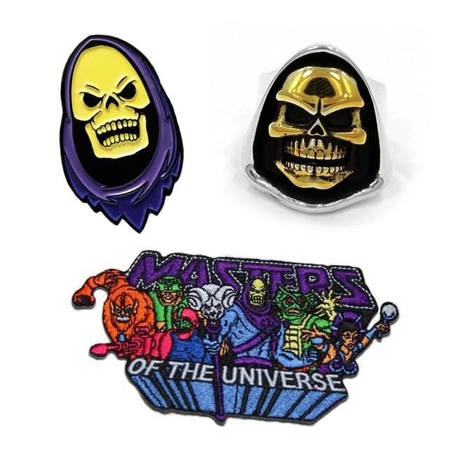 skeletor from masters of the universe ring, skeletor enamel pin, skeletor iron on patch