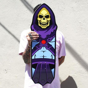 shot of a man holding the Skeletor Collectible Skate Deck Skateboard