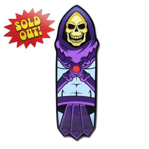front of the Skeletor skate deck from the masters of the universe collection