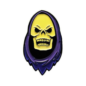 front of the Skeletor enamel pin from the masters of the universe enamel pin collection