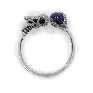aerial shot of the Skeletor havoc Ring in silver from the masters of the universe jewelry collection