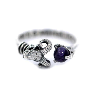 front of the Skeletor havoc Ring in silver from the masters of the universe jewelry collection