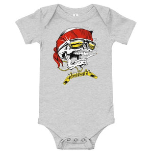 front of the Skully Baby Onesie in grey from the han cholo skulls collection