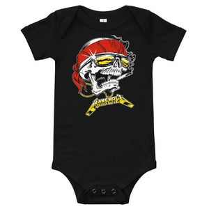 front of the Skully Baby Onesie in black from the han cholo skulls collection