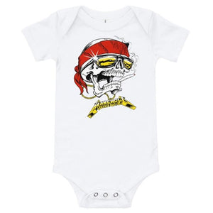 front of the Skully Baby Onesie in white from the han cholo skulls collection