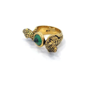 side of the Snake Ring in gold from the han cholo fantasy collection