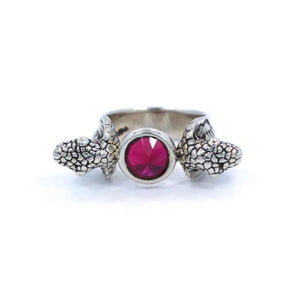 Snake Ring W/ Stone Sterling .925 Red / 6 Pm Rings