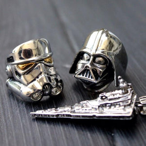 shot of the stormtrooper & darth vader rings with the star destroyer pendant