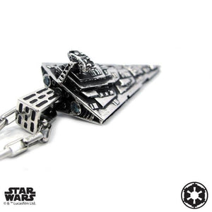 3/4 angle of the Star Destroyer Pendant from the han cholo star wars collection