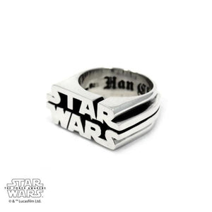 left side of the Star Wars Logo Ring in silver from the star wars collection