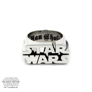 front of the Star Wars Logo Ring in silver from the star wars collection