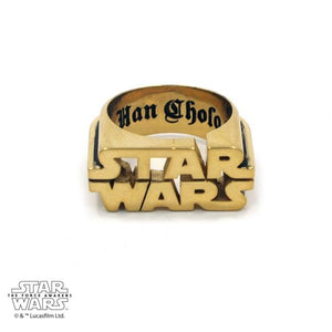 front of the Star Wars Logo Ring in gold from the star wars collection