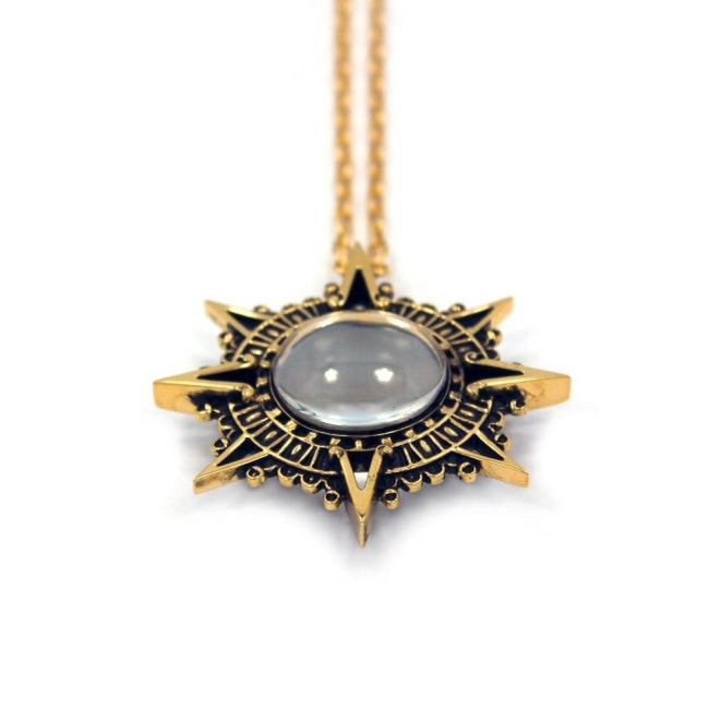 front of the Stargate Pendant in gold from the han cholo jewelry collection