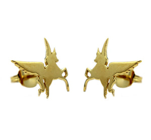 shot of the gold swiftwind stud earrings facing in casting a shadow on a white background
