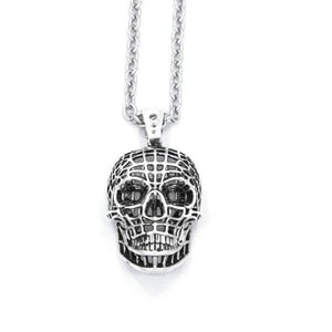 front of the Mesh Skull Pendant in silver from the han cholo skulls collection