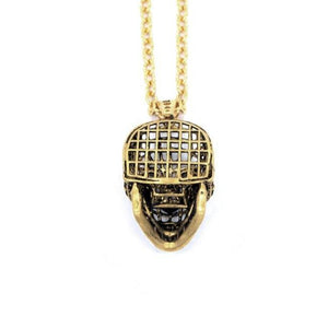 back of the Mesh Skull Pendant in gold from the han cholo skulls collection