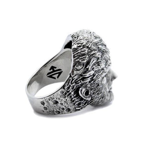 3/4 back view of the Wolfman Ring from the universal monsters jewelry collection