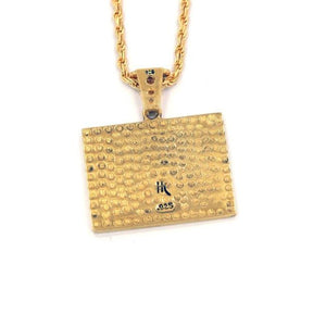 back of the Turntable Pendant in gold from the han cholo music collection